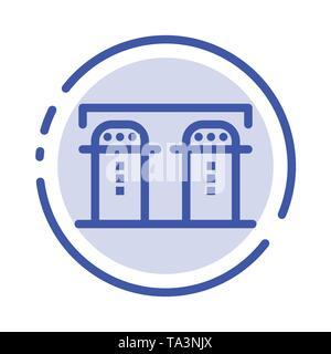 Sel, papier, bouteille, épices l'icône de la ligne en pointillé bleu Banque D'Images