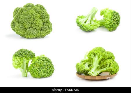 Ensemble de brocoli vert frais close-up isolé sur fond blanc Banque D'Images