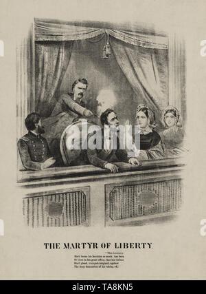 Le martyr de la liberté, l'assassinat du président Lincoln, Ford's Theater, Washington, avril 14, 1865 Banque D'Images