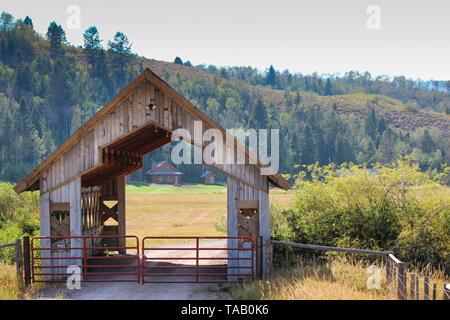 Pont couvert en bois rustique sur les terres agricoles au Wyoming, avec paysage de pins dans le soleil l'après-midi. Banque D'Images
