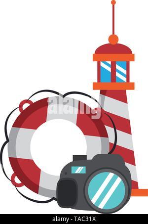 Voyage et vacances symboles vector illustration Banque D'Images