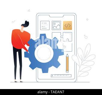Développement application Mobile - télévision style design illustration colorée Banque D'Images
