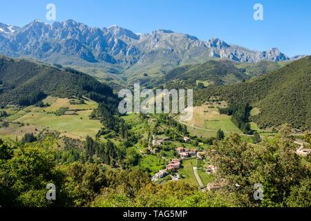Communes de Turieno et Argüébanes avec les Picos de Europa en arrière-plan, Cantabria, ESPAGNE Banque D'Images
