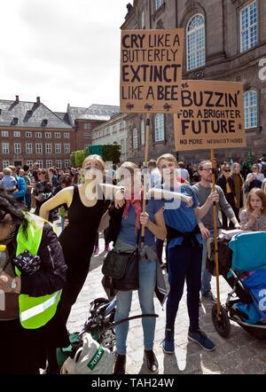 Copenhague, Danemark. 25 mai, 2019. Environ 30 000 personnes prennent part à la Mars Climat Climat, le plus important encore mars au Danemark. Démonstration et discours à Christianborg Palace Square en face du parlement danois. Discours par, entre autres, les responsables politiques danois et suédois 16 ans activiste climatique Greta Thunberg. De nombreux politiciens danois de la plupart des partis politiques sont présents, l'intérêt probablement renforcée par la campagne électorale pour les élections du Parlement de l'UE à venir demain au Danemark et les danois élection générale le 5 juin de cette année. Credit: Niels Quist/Alamy.