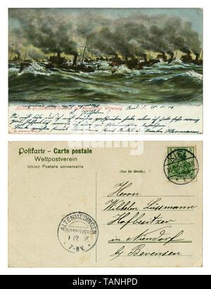 Carte postale historique allemand: marine, des navires en mer. Les manœuvres de la torpille. Mer agitée. Fumée noire à tuyaux du navire. Côté arrière, Kiel, 1905