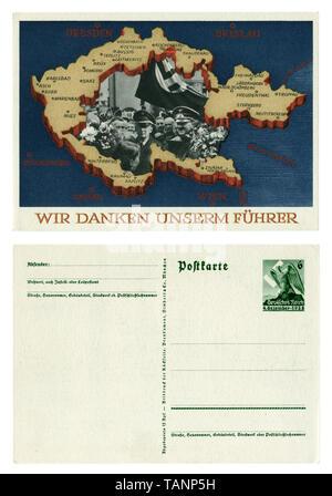Carte postale historique allemand: Référendum sur l'adhésion de la région des Sudètes. L'annexion de certaines parties de la Tchécoslovaquie. 29 septembre 1938, marche arrière en blanc