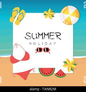 Des vacances avec lunettes bikini tongs watermelon ball et de fleurs illustration vecteur EPS10 Banque D'Images