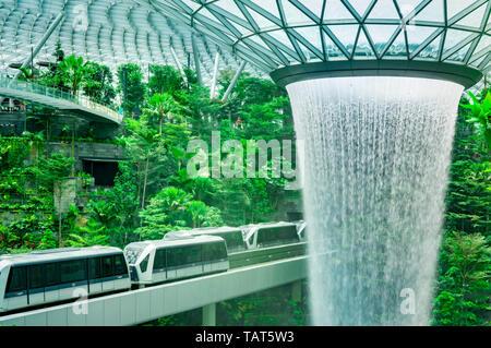 Singapour - 18 MAI 2019: Pluie HSBC Vortex, le plus haut du monde cascade intérieure à Jewel l'aéroport de Changi. La forêt verte dans le centre commercial et le skytrain. Célèbre Banque D'Images