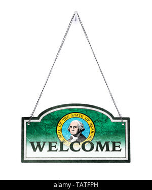 Washington vous souhaite la bienvenue ! Old metal sign isolated on white Banque D'Images