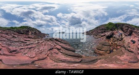 Mars Paradise(赤洲火星樂園千層壁), l'île de Port, HK Geopark. Banque D'Images