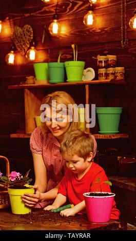 Concept naturel. La mère et le fils naturel de replantation fleur en pot. La mère et l'enfant naturel de replantation houseplant sol en noir ou de saleté. Ce naturel Banque D'Images