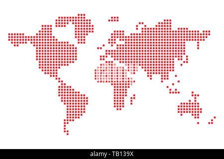 Style Pixel Art Carte De Lamérique Du Nord Continent De