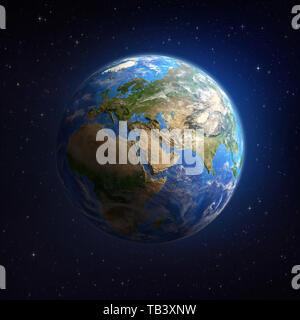 La planète Terre vue d'un satellite dans l'espace profond, l'accent sur l'Europe, d'Asie et d'Afrique. Illustration 3D - Éléments de cette image fournie par la NASA. Banque D'Images