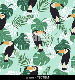 Hand drawn seamless pattern avec les oiseaux tropicaux et de feuilles sur fond bleu. Vector illustration télévision de toucan . Banque D'Images