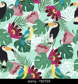 Hand drawn seamless pattern avec les oiseaux tropicaux, de fleurs et de feuilles sur fond bleu. Vector illustration télévision de perroquets et toucans . Banque D'Images