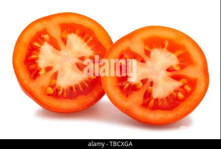 Chemin de tranches de tomate isolated on white