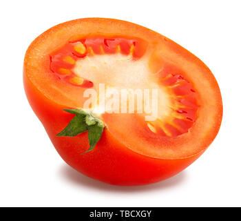 Chemin de tranches de tomate isolated on white Banque D'Images