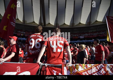Madrid, Espagne. 01 Juin, 2019. Liverpool Fan's avant la finale de la Ligue des Champions 2019 match entre Tottenham Hotspur et Liverpool au stade Metropolitano de Wanda, Madrid, Espagne, le 1 juin 2019. Photo par Giuseppe maffia. Credit : UK Sports Photos Ltd/Alamy Live News Banque D'Images