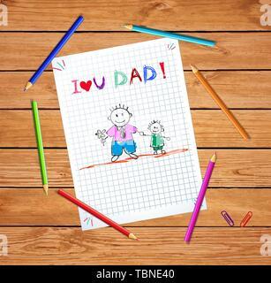 Père et fils kid carte de souhaits, papa avec boy, dessinés à la main, je t'aime papa inscription sur la feuille de papier millimétré quadrillé notebook couleur table en bois Banque D'Images