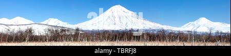 Panorama paysage paysage de montagne d'hiver de la péninsule du Kamtchatka: groupe de volcans Koryaksky, Avachinsky, Kozelsky Banque D'Images
