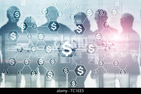 Dollars d'icônes sur le résumé du monde des affaires. Concept d'investissement. Avion pièces calculatrice sur un écran virtuel.