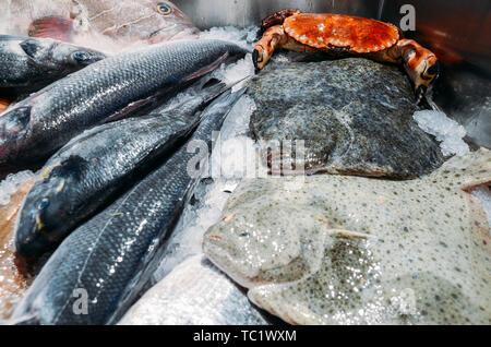 L'angle de la vie toujours élevée de matières premières diverses y compris le poisson frais Poisson Ray refroidissement sur lit de glace froide dans les fruits de mer de décrochage du marché. Banque D'Images