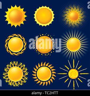 Vector illustration. Neuf icônes soleil isolé dans un style brillant. Banque D'Images