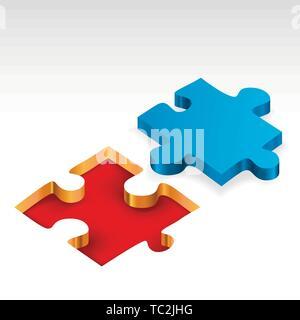 Vector illustration. Jigsaw piece en 3D. Pièce de puzzle bleu isolé. Banque D'Images