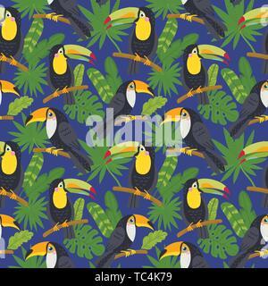 Modèle sans couture avec mignon toucans de la jungle Banque D'Images