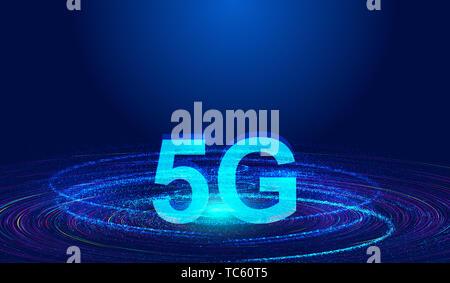 Notion de créativité pour le développement rapide de la construction des particules Dynamique Technologie de communication 5G Banque D'Images