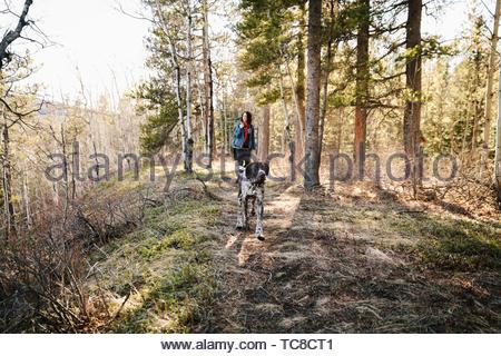 Femme avec chien randonnées à sunny woods Banque D'Images