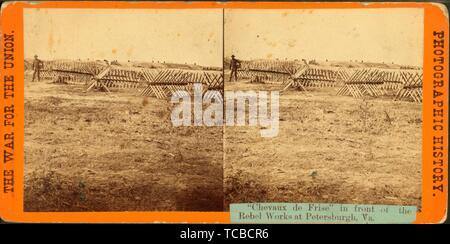 Chevaux de frise'' en face de la Rebel travaille à Petersburgh, Virginie titre supplémentaire: la guerre de l'Union européenne, de l'histoire photographique. E. & H.T. Anthony