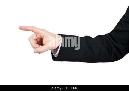 La main de l'homme d'affaires en costume noir pointant l'Index. Isolé sur fond blanc. Banque D'Images