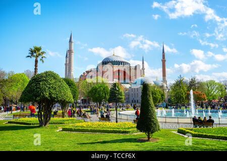 La basilique Sainte-Sophie. ISTANBUL Turquie le 3 avril 2019: Sainte-sophie fut d'abord une église catholique construite sous Justinien I, et a été une cathédrale catholique de l'Est Banque D'Images