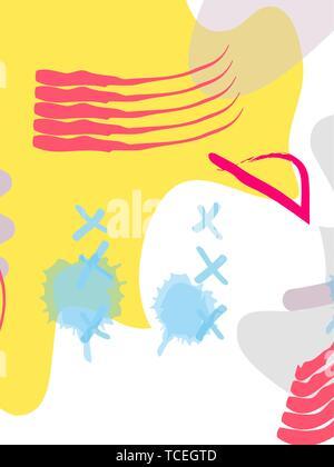Style Memphis Poster ensemble. Les fonds de couleur liquide avec des éléments futuristes. Abstract style plat Banque D'Images