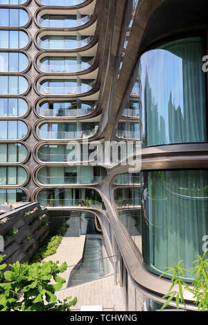 Un plan sur 520 West 28th Street, un immeuble d'appartements de luxe conçu par Zaha Hadid à côté du parc High line.Manhattan.New York City.USA
