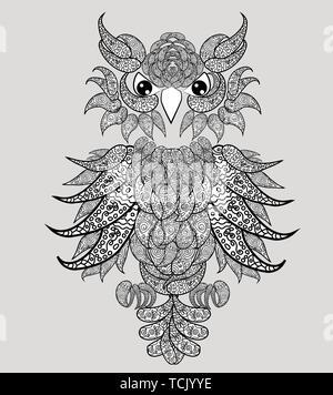 Coloriage Anti Stress Hibou.Owl Page A Colorier Ou Couverture De Livre La Conception De