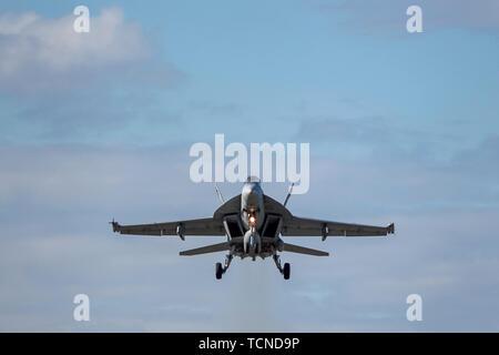Un U.S. Navy F/A-18E Super Hornet avec Strike Fighter Squadron 192 affecté à la base aéronavale de Lemoore décolle du Joint Base Elmendorf-Richardson, Alaska, le 7 juin 2019. VFA-192 mis en place un détachement en Alaska d'assurer l'intégration et support Formation avec JBER'S F-22 Raptors. Le détachement de la VFA-192Alaska permet aux pilotes l'occasion d'accroître leurs compétences tactiques et stratégiques dans un environnement de combat interarmées. (U.S. Photo de l'Armée de l'air par le sergent. James Richardson)