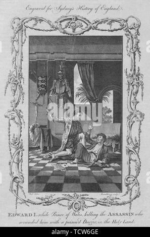 'Edward I. alors que prince de Galles, tuant l'assassin qui le blessa avec un poison'd poignard dans le Créateur: Rennoldson. Banque D'Images
