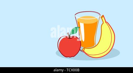 Verre de jus d'orange, pomme et banane fruits Aliments sains croquis concept horizontal dessiné à la main Banque D'Images