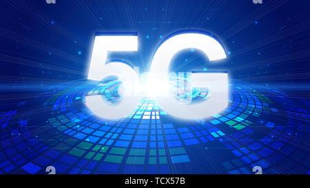 Illustration créative Concept de développement rapide des technologies de communication 5G Banque D'Images
