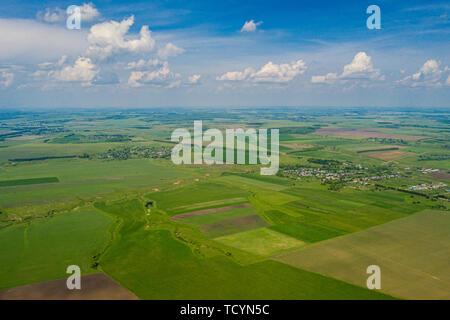 Vaste champ d'antenne vert - domaine de l'Agriculture photo aérienne - Paysages photo drone Banque D'Images