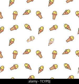 La crème glacée et de bonbons Doodle motif transparent. Super pour l'été délicieux dessert wallpaper, fonds, l'emballage, le tissu, le scrapbooking et papier cadeau Banque D'Images
