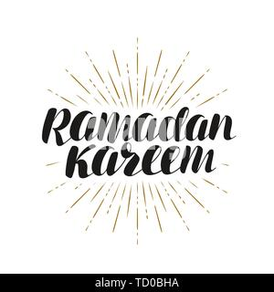 Ramadan Kareem, carte de vœux. Lettrage, vector illustration Banque D'Images