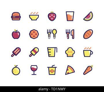 Simple Jeu d'Alimentation et boisson vecteur connexes Ligne rempli d'icônes. Contient des icônes telles que Burger, bol, fraise, pastèque, biscuit et plus encore.