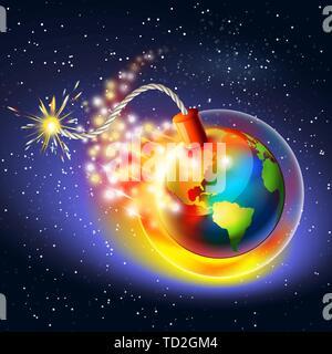 Le réchauffement de la notion d'avertissement. Trou d'ozone, de l'ultraviolet et de l'effet de serre. Banque D'Images