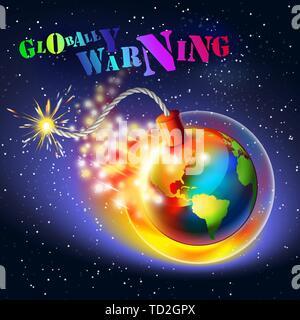 Le réchauffement de la notion d'avertissement. Trou d'ozone, de l'ultraviolet et de l'effet de serre, coloré d'un message texte. Banque D'Images