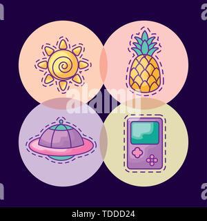 Définir des taches de soleil et les icônes vector illustration design Banque D'Images