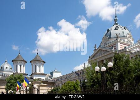 L'Hôpital Coltea et église à Bucarest en Roumanie. Banque D'Images