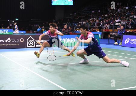 Yilyu Wang Dongping et Huang (Chine) vu en action lors de l'Australian Open 2019 Badminton Double mixte demi-finales match contre Tang Chun Man et Tse Ying Suet (Hong Kong). Wang et Huang a remporté le match 21-13, 21-10.